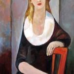 """""""Paní M."""",olej na plátně, 100x 65 cm, 2017"""