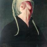Stará panna,koláž,31x24,2000