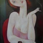 V kavárně,olej,65x42,2010