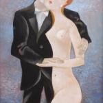 Zamilovaný violoncellista,olej, 70x50 cm, 2008