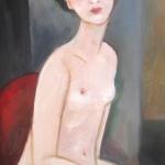 Sedící žena,olej,64x42cm,2013