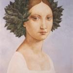 Dívka s ratolestí, olej, 70x50 cm,1989